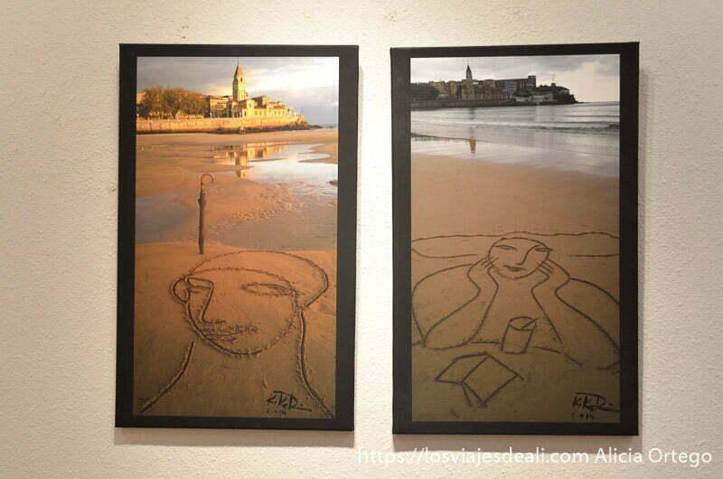 dos fotos de la playa de gijón con figuras en la arena