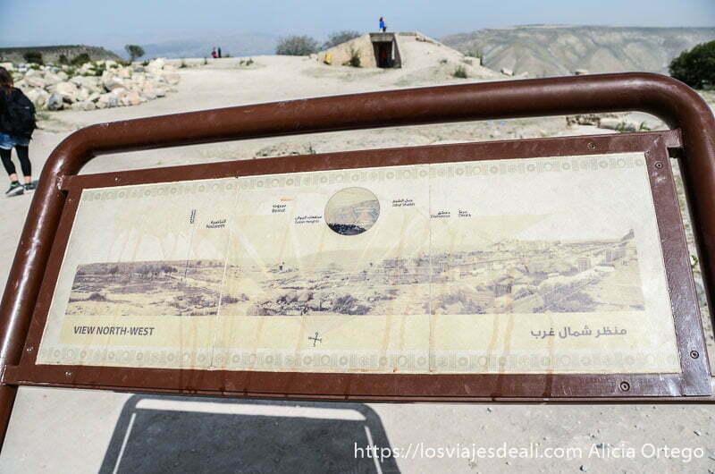 cartel que señala en el paisaje los puntos clave de la guerra de los seis días