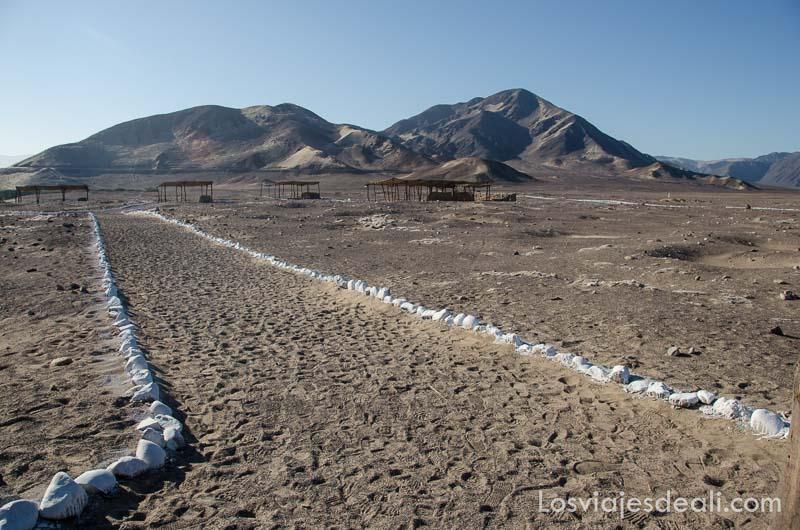 camino del cementerio de las momias de chauchilla marcado con piedras encaladas