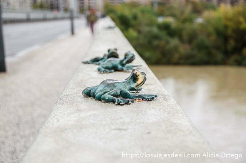 ranas de bronce en línea en el murete de uno de los puentes de zaragoza