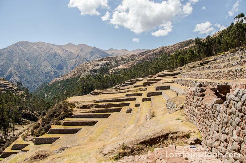 ladera de montaña con terrazas para cultivo y muros de piedra inca