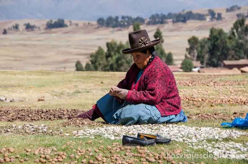 señora andina mayor sentada en la hierba al sol secando papas