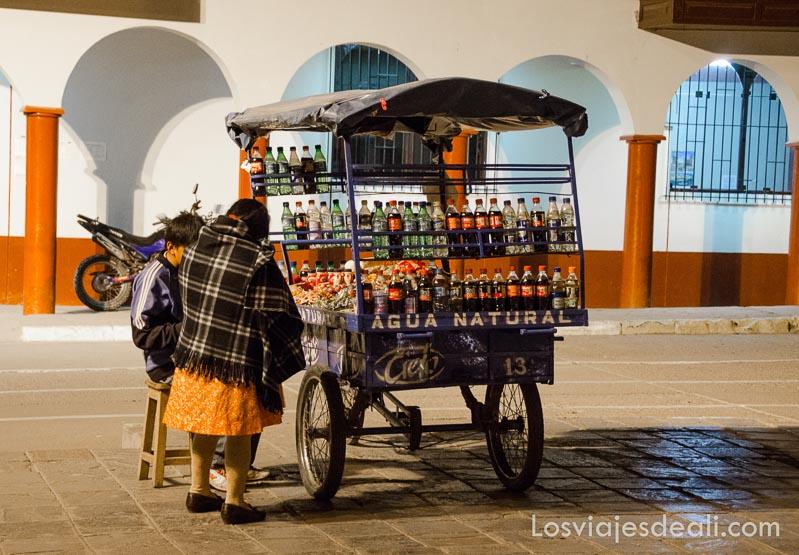 carrito de bebidas con una clienta abrigada con manta a cuadros