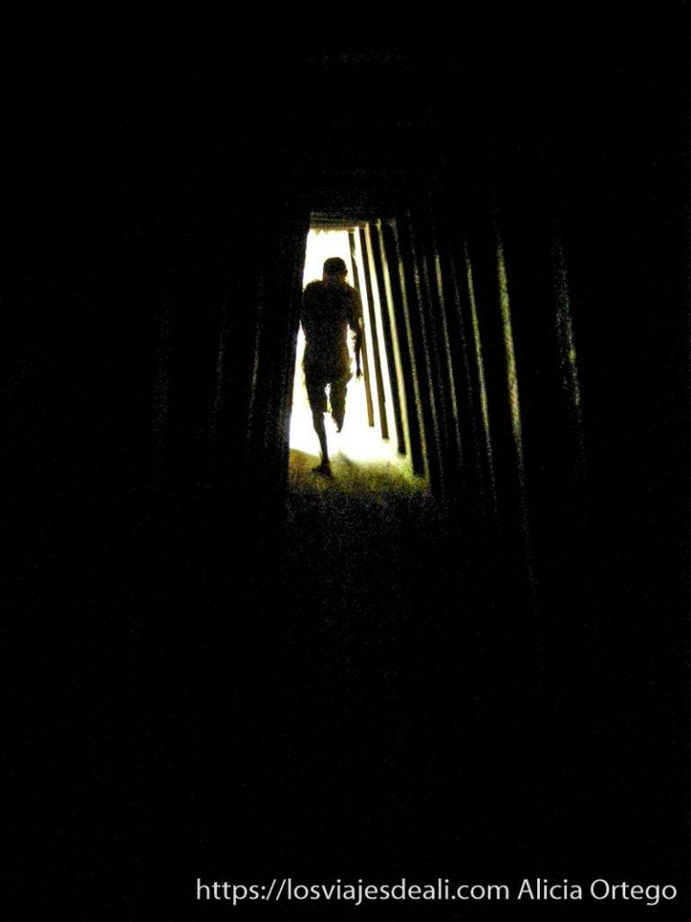 hombre saliendo de un túnel de la guerra de vietnam