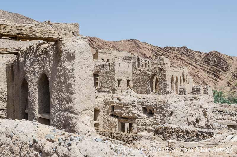 grupo de casas en ruinas de un pueblo de un oasis de omán