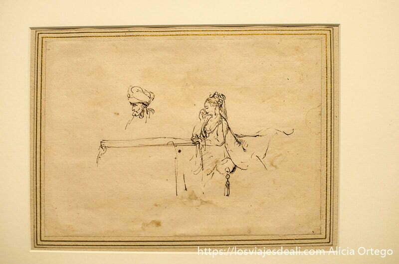 pequeño dibujo de la casa de rembrandt con figura de hombre y mujer árabes