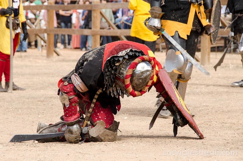 guerrero caído de rodillas con cabeza gacha en el torneo internacional de combate medieval