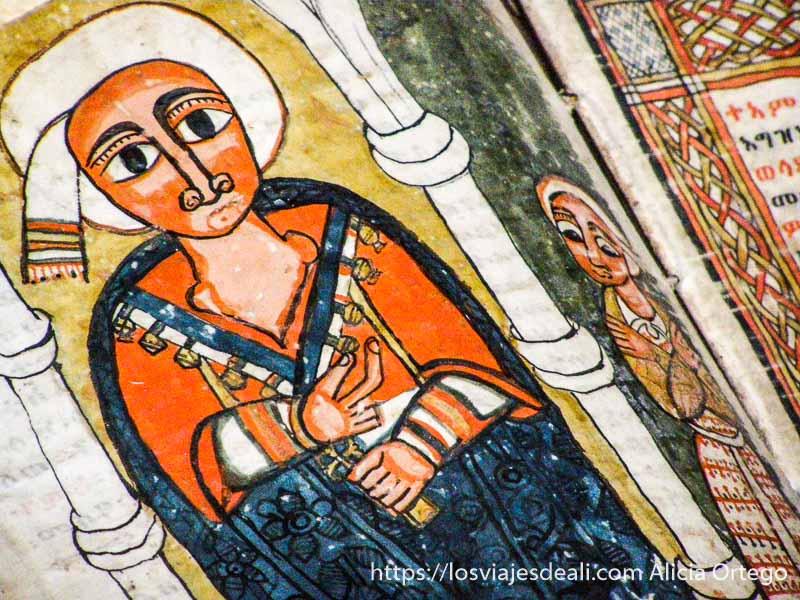 página de biblia medieval con un dibujo pintado de colores de un hombre con turbante