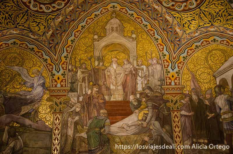 mosaico donde se ve al papa recibiendo un rey muerto guía del budapest monumental