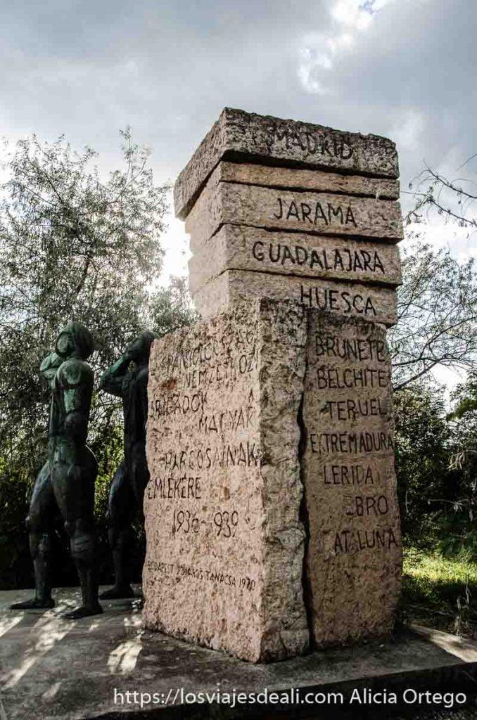 bloques de piedra con nombres de las batallas de la guerra civil española en memento park de budapest