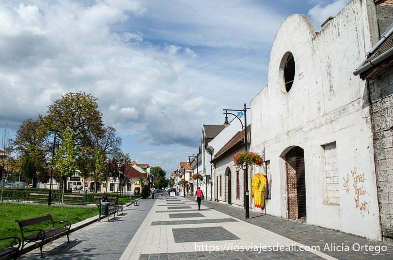 calle peatonal con parque al lado y naves recién pintadas en óbuda budapest