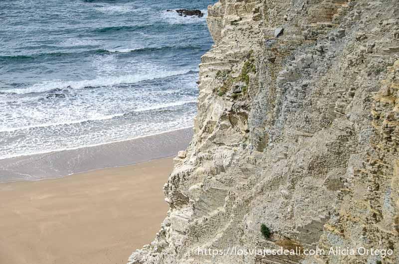 acantilado y playa con olas en zumaia
