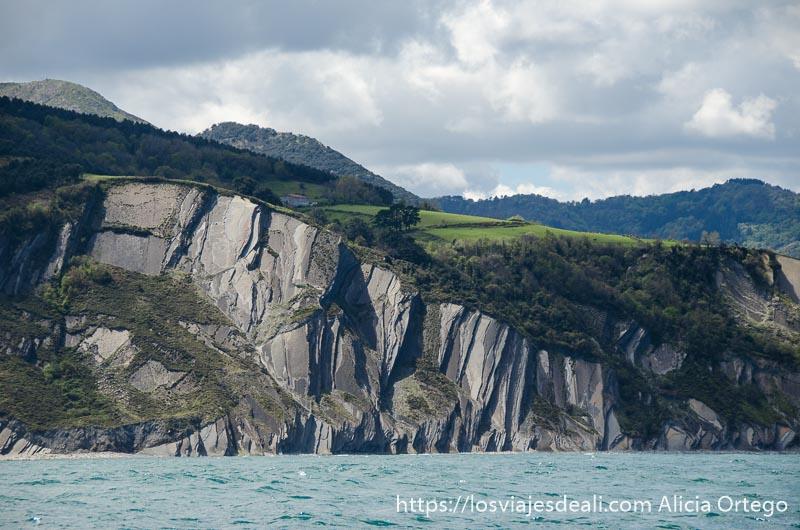 vista de un acantilado del flysch desde el mar donde se ven los grandes pliegues de las rocas
