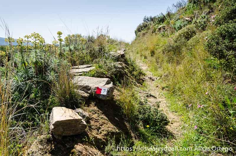 camino rural con marca roja que indica ruta 7 senderismo y arqueología en la isla de naxos