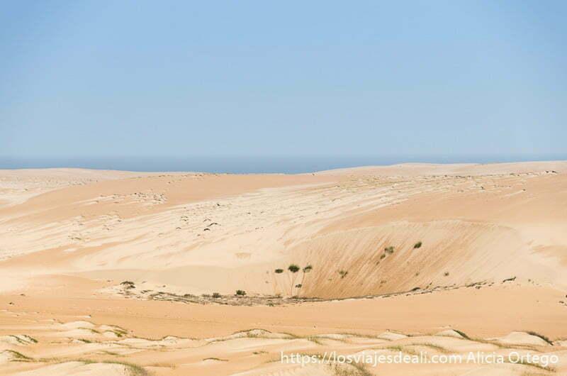 dunas con capa de sal y el mar al fondo desiertos de omán