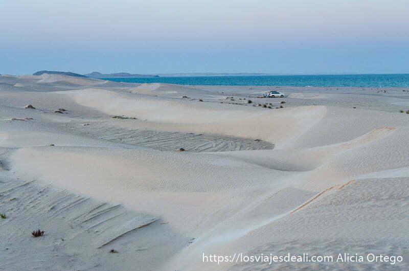 amanecer en el desierto de azúcar con colores morados desiertos de omán