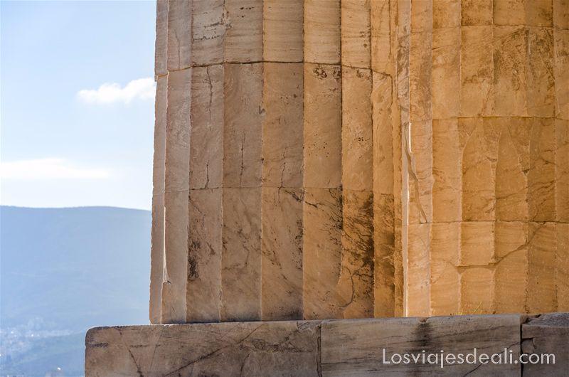 las texturas de los viajes columnas del partenón