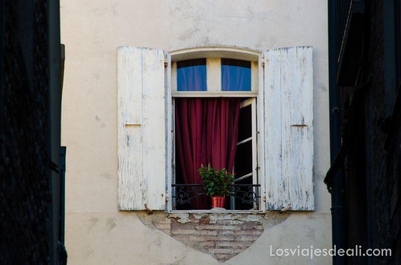 ventana de perpignan con contraventanas de madera y maceta en el centro puertas y ventanas del mundo