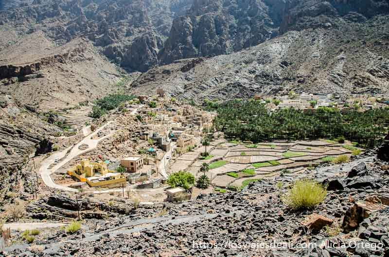 pueblo con palmeras y huertos al fondo de un valle en la cordillera al hajar
