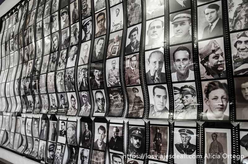 pared llena de fotos de los hombres que estuvieron en la batalla del jarama