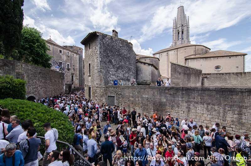 cientos de turistas andando por las calles de girona en el temps de flors