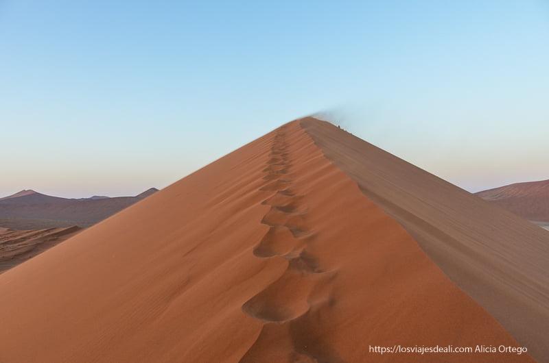 cresta de la duna 45 con arena levantada por el viento