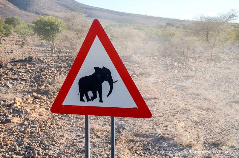 señal de tráfico de advertencia cruce de elefantes