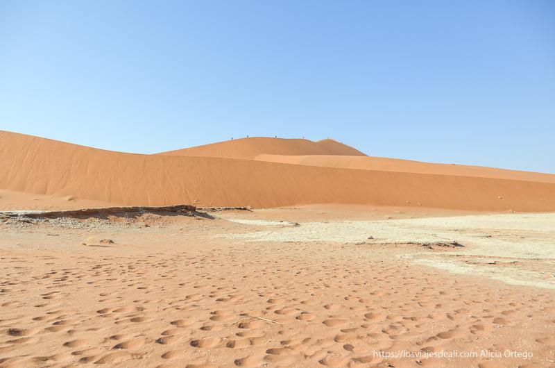 duna naranja con gente caminando por su cresta en Deadvlei Namibia