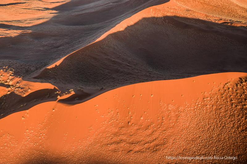 dunas rojas desde el aire en el desierto del Namib