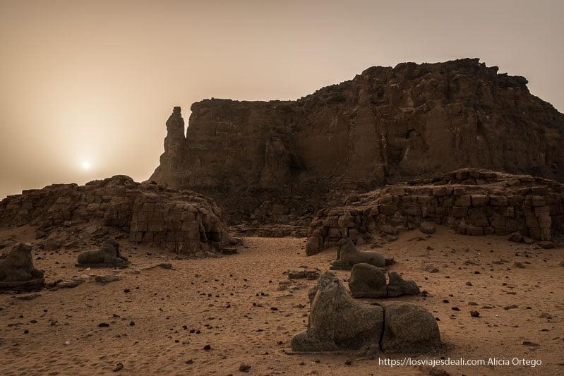 jebel barkal y el templo de Amón con la avenida de esfinges Karima