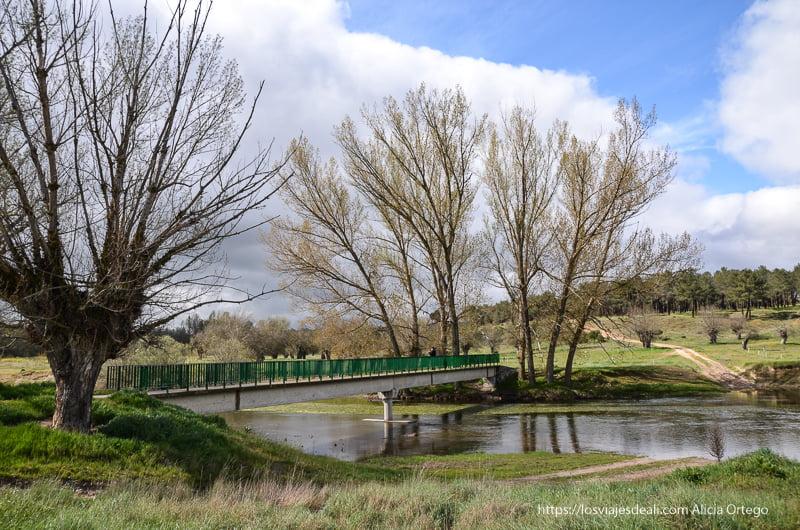 río y puente con árboles a ambos lados pueblos de segovia