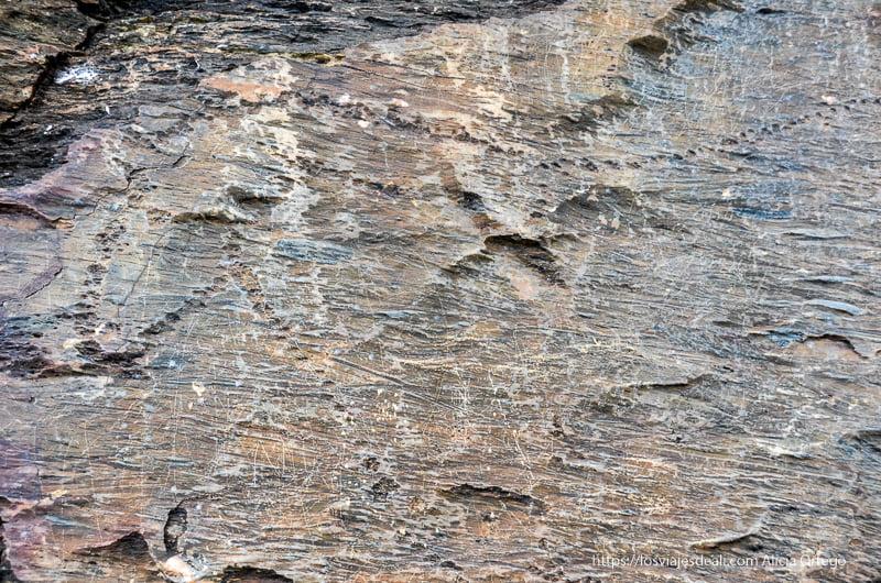 figura de un caballo prehistórico grabado en la roca con técnica de punteado