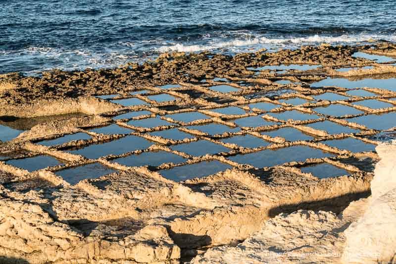 cuadrícula de salinas romanas con luz de atardecer cosas que ver en Gozo