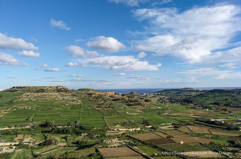 panorámica de la isla de Gozo con campos de cultivo y el mar al fondo