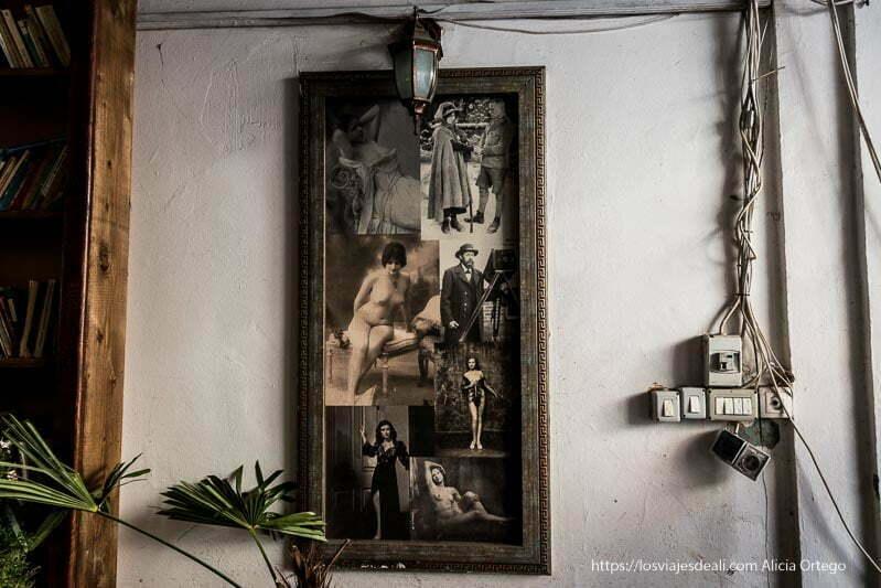 poster con collage de fotos antiguas de mujeres desnudas en un rincón de brasov