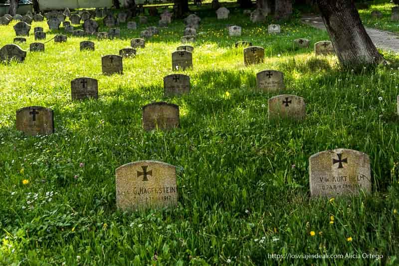 cementerio de brasov con lápidas pequeñas en varias filas con cruz ortodoxa y nombres