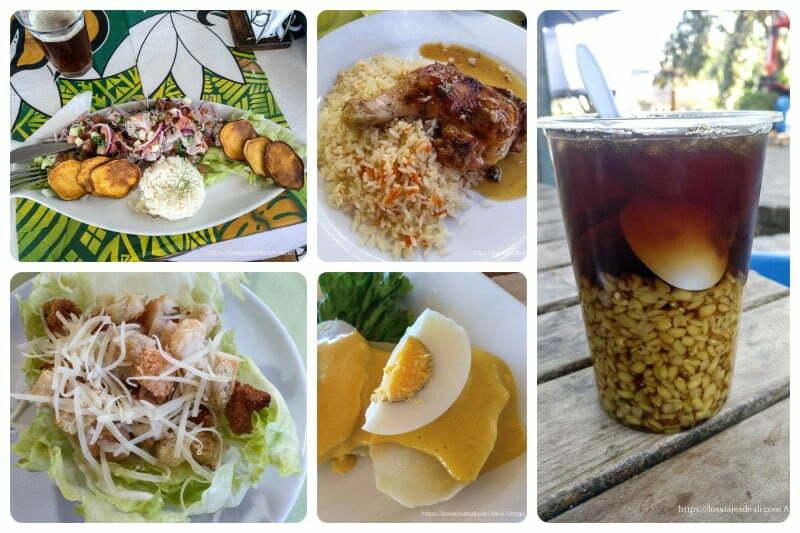 collage de comidas en Chile, mote con huesillos, pollo asado, ceviche, ensalada
