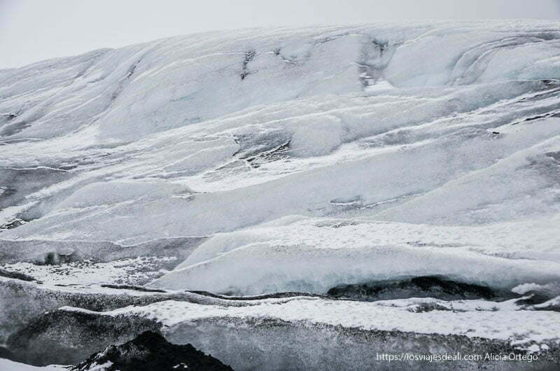 capas de hielo en el glaciar de islandia