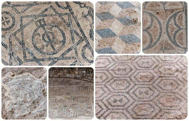 collage con seis mosaicos de motivos geométricos y colores rojos azules blancos y negros soria romana