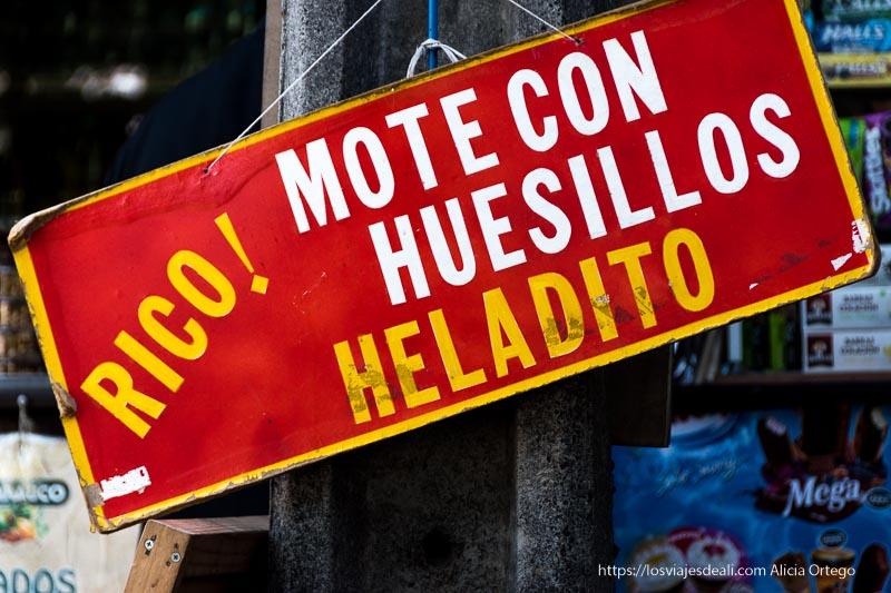cartel de mote con huesillos Organizar tu viaje a Chile