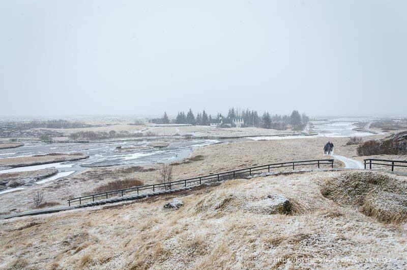 hierba congelada y caminos por donde la gente pasea en pingvellir triángulo dorado de islandia
