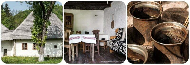 collage con foto de casa tradicional exterior y comedor tradicional en interior