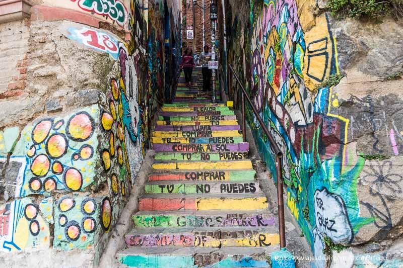 escaleras con la letra de canción de Calle 13 Viña del mar y valparaíso