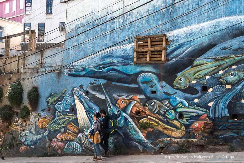 mural de ballenas y peces en valparaíso