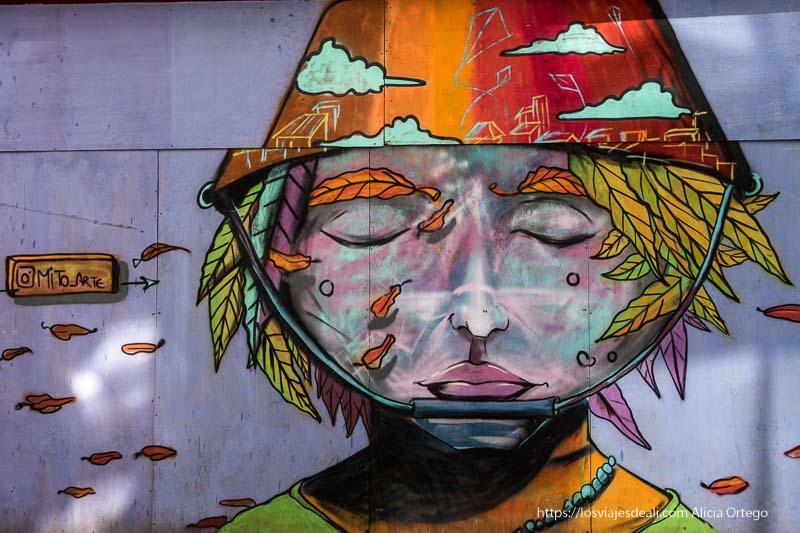 mural de arte callejero un niño con ojos cerrados y pelo echo de hojas Viña del mar y valparaíso