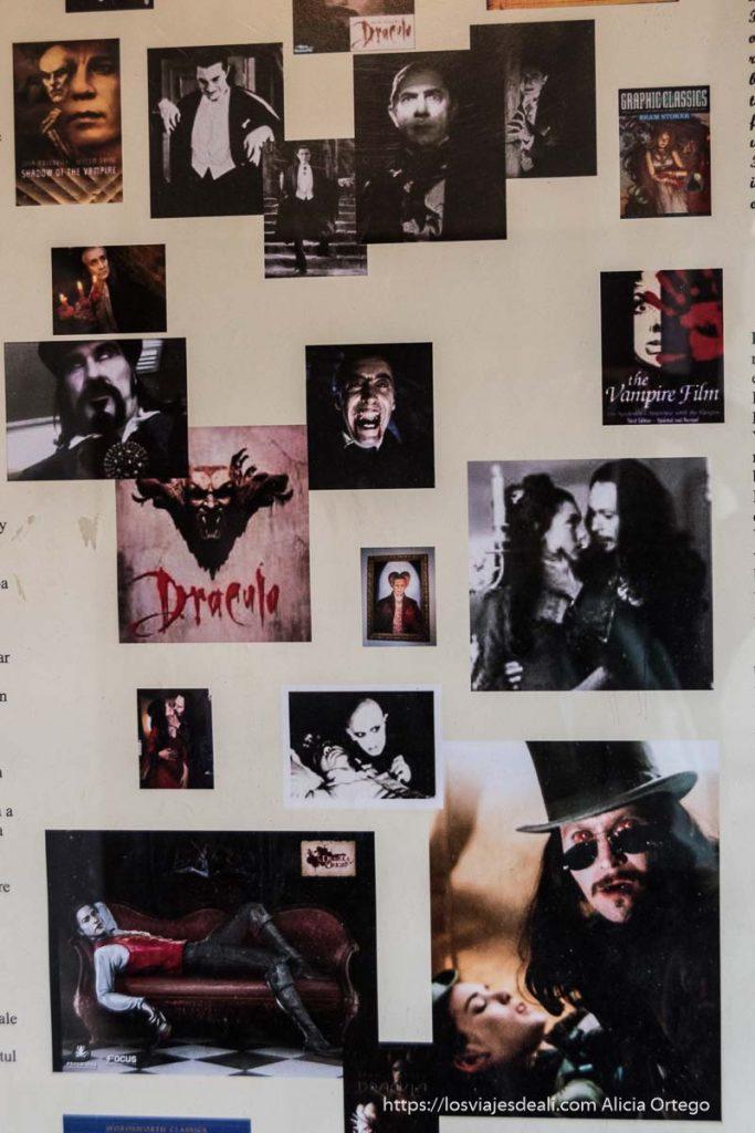 cartel con recortes de películas de Drácula excursión a bran y rasnov