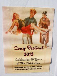 cartel anunciando festival de El hombre tranquilo por 60 aniversario en Cong Irlanda