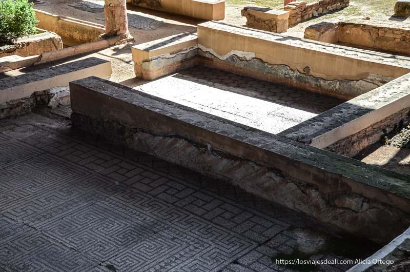 habitaciones con mosaicos en casa romana de mérida