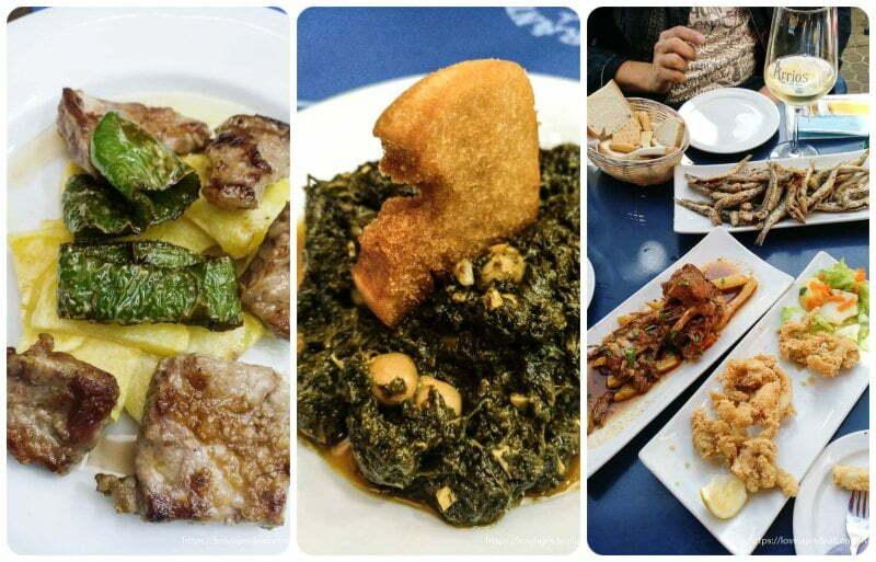 collage de tapas de pescaíto frito, garbanzos con espinacas y carne de presa planes en sevilla