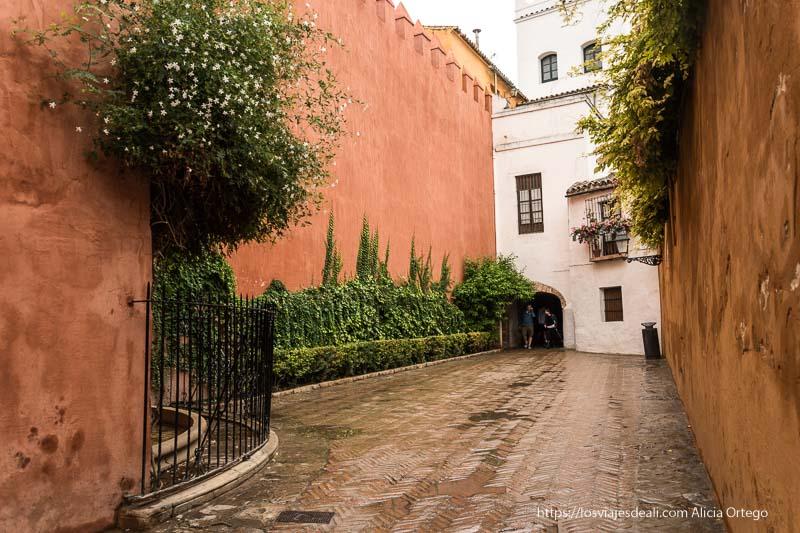 plaza de la judería con muralla pintada de rojo planes en sevilla